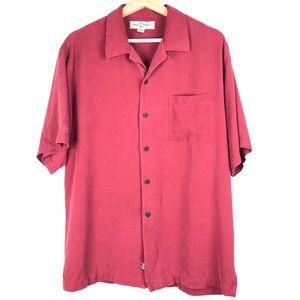 TOMMY BAHAMA shirt Medium brick red 100% silk t208